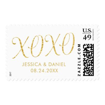 Hugs and Kisses Gold Foil Script Wedding Postage
