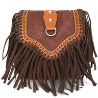 Light Brown Leather Tassels Bag