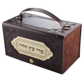 LEATHER LIKE ETROG BOX WITH LASER CUT PLATE 18.5*10 CM