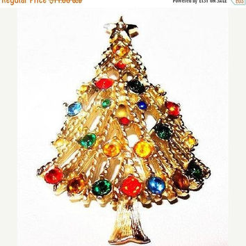 Christmas Tree Brooch Pin Multi Color Rhinestones Gold Metal Sta d5d155316