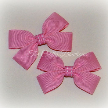 Small Pink Clippies ~ Pink Saddle Stitch Bows ~ Pink Hair Bows ~ Small Pink Bows ~ Pink Hair Clips ~ Pink Pigtails ~ Baby Toddler Bows