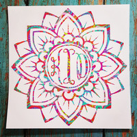 Flower Mandala Monogram Decal, Mandala Monogram Decal, Flower Monogram Decal, Mandala Car Decal, Lilly Pulitzer Mandala Decal, Paisley Decal