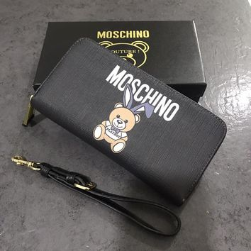 """Moschino"" Women Classic Cute Rabbit Bear Cowhide Long Section Zip Wallet Clutch Fashion Genuine Leather Multifunction Wristlet Purse"