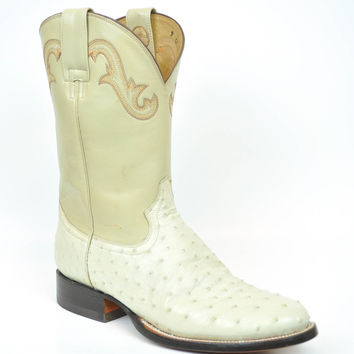 Gavel Hancrafted Men's Ivory Full Quill Ostrich Rancher Round Toe Cowboy Boots