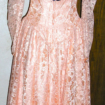 70s peach lace Dance Allure victorian gown wedding bridesmaid formal dress Union label open back size 7 8 woodland elvish