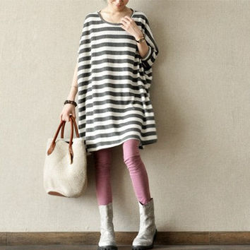 Loose Fitting Linen Long Bat Sleeve T Shirt Blouse for Women -grey and white stripes -Long Sleeved Women Spring Dress cape (86)