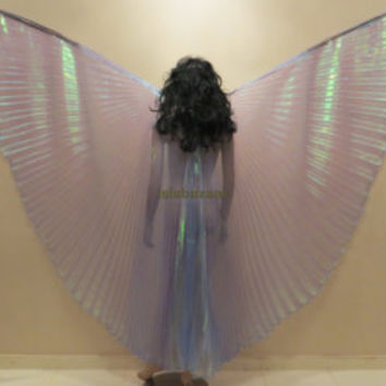 Cute Petite Kids Iridescent Royal Blue Rainbow Bellydance Costume ISIS WINGS