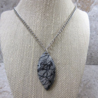 Gray Stone Necklace for Men, Black Silk Stone Pendant, Guy Necklace, Black and Gray Stone Necklace