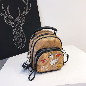 Student Backpack Children Super Fire Parcel 2018 Women's New Wave Grass Embroidery Embroidered Korean Version of The Backpack Student Backpack AT_49_3