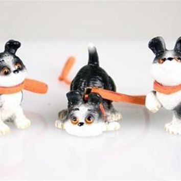 We Three Little Rufus Puppies Playing Together Miniature Set 1.5H - RUF10