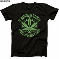 shubuzhi New Summer Men Natural Funny T Shirt If Nature is Illegal Joint Legalized Weed Tee Casual Tee Shirt sbz1036