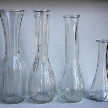 Four Assorted Vintage Glass Flower Bud Plant Vase Lot, Art Project Jars