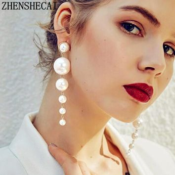 Trendy Elegant Created Big Simulated Pearl Long Earrings Pearls String Statement Drop Earrings For Wedding Party Gift e0207
