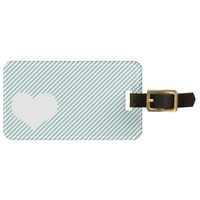 Striped heart luggage tag