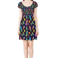 Funky Cactus pattern Cap Sleeve Dress
