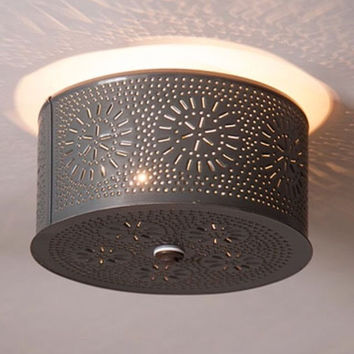 Primitive Round  Ceiling Light with Chisel Punched Tin  Design