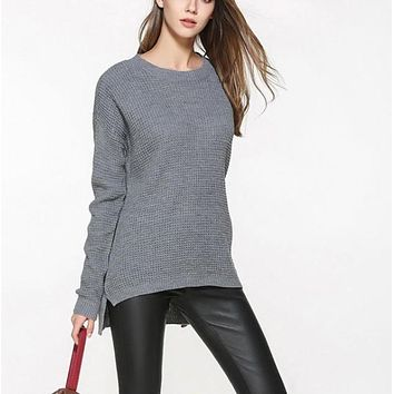 Womens Relaxed Fit Round Neck Sweater in Gray