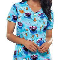 Tooniforms by Cherokee Women's Cut V-Neck Print Scrub Top