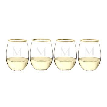 Personalized Gold Rim Stemless Wine Glasses (Set of 4)
