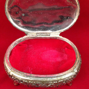Footed Casket Jewelry Trinket Box made in Japan, Gold Color with Grapevine Pattern