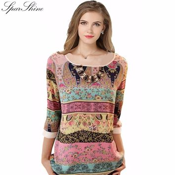 Summer Fashion 2017 Vintage Three Quarter Chiffon T-shirts  Women Casual Different Pattern Tunic Shirts Jumper Tops Blusas Mujer