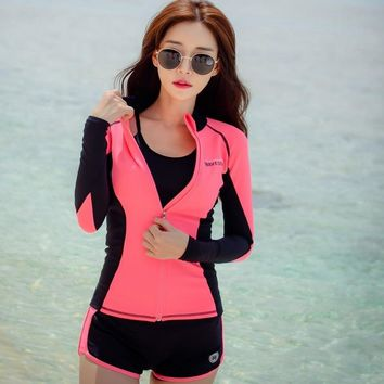 Sexy Lady Swimsuit Swimwear Three Pieces With Bra&Bottom Korean Style long sleeves Zipper sunscreen Beach clothes bathing suit