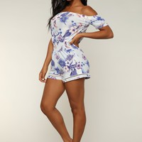 Beauty And The Beach Tropical Romper - Blue