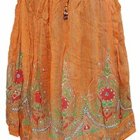 Mogul Womens Skirt Orange Sequin Floral Pattern Hippie Boho Skirts