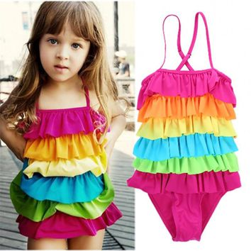 Toddler Baby Girl Child Rainbow Draped Pleated Fringes Tassels Swimwear One-Piece Suits Cute Strappy Swimsuit Swimming Beachwear