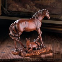 Mother And Foal Horse Decorative Statue