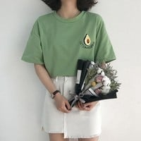 Cute Avocado Embroidery Short Sleeve Crop Top