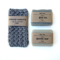 Men gift set, natural soaps and washcloth, vegan soap, gift for men, men gift