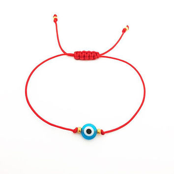 Red String Evil Eye Bracelet - Red String Bracelet - Red Bracelet - Lucky Bracelet - Blue Evil Eye