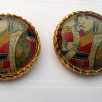 Stud Earring King Playing Cards Alice in by TheDorothyDays on Etsy