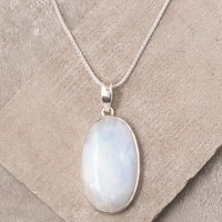 Rainbow Moonstone Oval Pendant