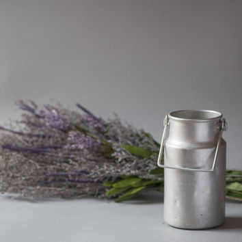 Soviet milk tin small can storage grey tin canister home decor for spring