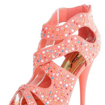 Alba Lisa Coral Cutout Strappy Rhinestone High Heels and Shop Shoes at MakeMeChic.com