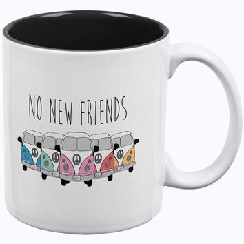 DCCKIS3 Hippie Van No New Friends Bus Camper All Over Coffee Mug