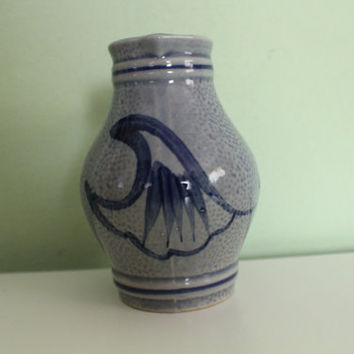 Vintage Ceramic Pitcher, German, Salt Glazed, Painted, Pottery, Ceramic Jug, Vase, Milchkanne