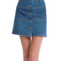 Girl's Talk Denim Mini Skirt - Blue