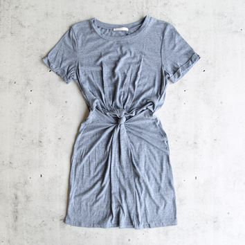knot it knot-front t-shirt dress - dusty blue
