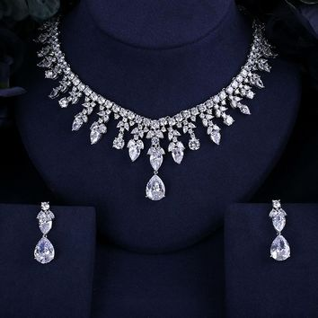 4 color selection BEST QUALITY BRILLIANT CRYSTAL ZIRCON EARRINGS AND NECKLACE BRIDAL JEWELRY SET WEDDING DRESS ACCESSARIES
