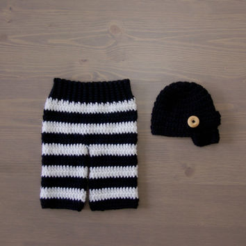 Crochet Black and White Striped Pants with Black Newsboy Cap, Crocheted Baby Hat, Crochet Baby Hat, Crochet Set, Newborn Photo Prop