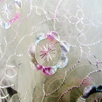 Vintage Dresser Scarves Table Runners Set Of Two Sheer Floral Embroidery Pink And Lavender Cottage Chic Collectible Item 1720