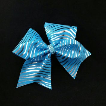 Cheer bow, Blue Zebra cheer bow, blue cheer bow, sliver cheer bow, cheerleader bow, cheerleading bow, dance bow, softball bow
