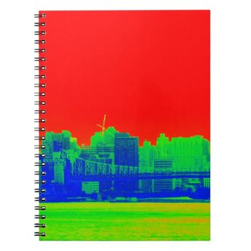 Bright Red NYC Skyline River View Notebook