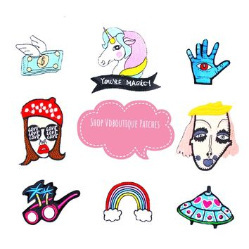 Cute Hipster Punk Rainbow Unicorn UFO Sunglasses Embroidered Iron On Patches