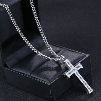 Philippians 4:13 Bible Scripture Cross Necklace