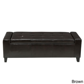 Large Button Tufted Padded Leather Rectangular Storage Ottoman
