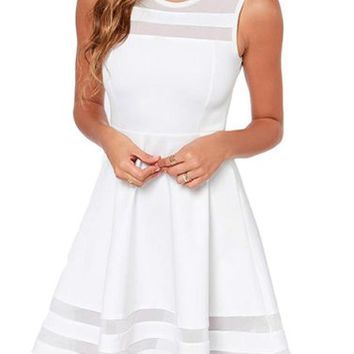 Lingswallow Women's Sweet Elegent White Sleeveless Sheer Mesh Slim Party Dress